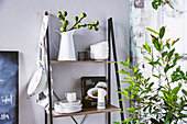 Shelf with dishes and sprig of figs