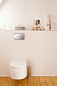 Wall-mounted toilet below ballet shoes, toilet rolls and folded towels on ledge