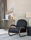 Black armchair in living room in elegant Bohemian style