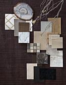 Mood board of various material samples in natural shades