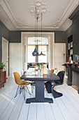Long dining table and classic chairs in dining room with dark walls and white wooden floor