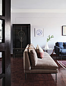 Sofas, side table and Chinese wedding cabinet in living room