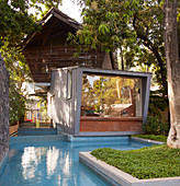 Exotic cubist architect-designed house next to pool