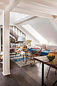 Open-plan Bohemian-style apartment in attic