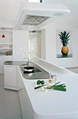Futuristische Designerküche mit geschwungener Kochinsel