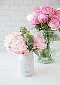 Peonies in vases