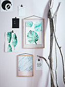 Homemade plant leaves as wall decoration