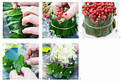 Instructions for making table decoration from red berries, hydrangea flowers, leaves and floral foam