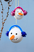 Hand-made snowman baubles