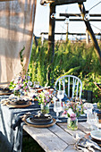 Rustic table set for summer party