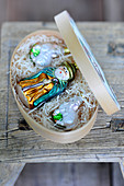 Shepherd and lamb Christmas baubles packed in chip wood box
