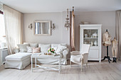 White and beige living room with vintage ambiance