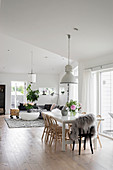 Large, open-plan, Scandinavian interior