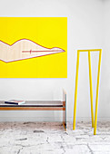 Designer bench, modern art and yellow designer coat stand