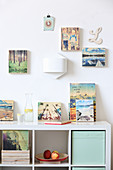 Photos printed on wooden blocks on wall