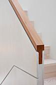 Modern wooden staircase handrail