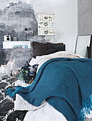 Mural on wall in bedroom in shades of grey