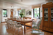 Dining room furnished with vintage-style flea-market finds