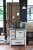 Vintage accessories on old kitchen cooker