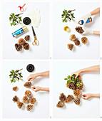 Anleitung für eine Girlande aus goldfarbenen Zapfen und Zweigen