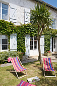 Colourful deckchairs in garden of French country house