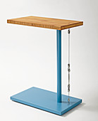 Blue, DIY side table with bamboo top and steel cable