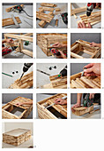 Instructions for making a coffee table from wooden panels and a glass top