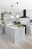 Open-plan, country-house-style kitchen in grey