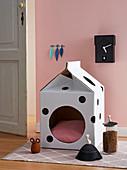 DIY cardboard cat cave