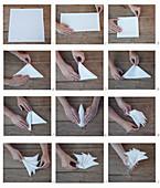 Instructions for folding napkins