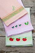 Handmade tea towels with stamp prints