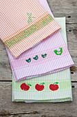Handmade tea towels with stamp prints