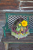 Autumn arrangement in basket with handle