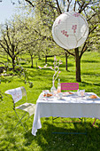 Lantern above set table below flowering cherry tree in garden