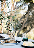 Laid table with olive branch in the garden