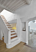 Masonry staircase in white Mediterranean house
