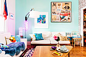 Sofas and coffee tables in the living room with colorful walls