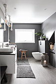 Modern grey-and-white bathroom