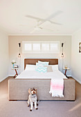 Dog in front of double bed with side table and lights in bedroom
