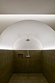 Shower in vaulted room with half-height tiled walls and indirect lighting