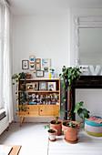 Retro Vitrinenschrank mit eklektischer Sammlung, Schmetterlingsbilder, Zimmerpflanzen und stillgelegter Kamin