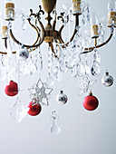Christmas decorations on the chandelier