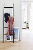 Skirt clipped to hanger on ladder and pictures leaning against wall