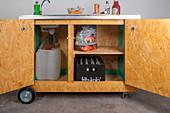 DIY mobile outdoor kitchen with open doors
