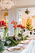 Festively set table in classic dining room
