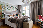 Wintry accessories in elegant bedroom