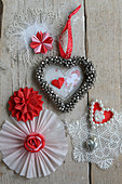 Christmas decorations made from lace doilies and folded paper
