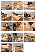 Instructions for making a coffee table from pallets and a glass top