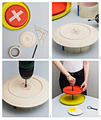 A cakestand being made from colourful plates