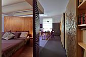 Modernes Ein-Zimmer-Wohnung mit Akzenten in Violett
